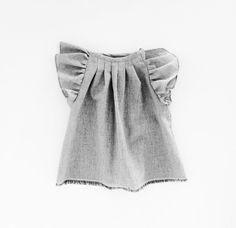 Organic Cotton Blouse Girls Grey Top Toddler Girl by moonroomkids Pillowcase Shirt, William Morris Patterns, Tied Shirt, Girls Blouse, Only Girl, Cotton Blouses, Grey Top, Organic Cotton, Cotton Fabric