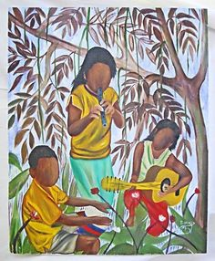 Vintage Folk Painting R Henry Kid Black Musicians Bayou Guitar Flute Conga Drum African American Art, African Art, Black Women Art, Outsider Art, Female Art, Flute, Drums, Folk Art, Drawings