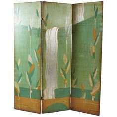 Painted Art Deco Screen by Artist Mildred Woodell | From a unique collection of antique and modern paintings at https://www.1stdibs.com/furniture/folk-art/paintings/