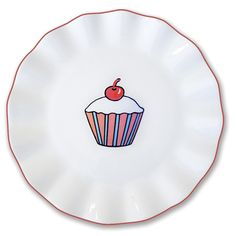 "Everyday Cupcake 7"" Stripes Plate (Set of 4)"