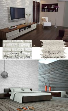 Brick wall cladding with Leroy Merlin White Wash Walls, White Brick Walls, Small Living Rooms, Living Room Decor, Room Ideas Bedroom, Bedroom Decor, Brick Cladding, Wall Cladding, Casa Retro