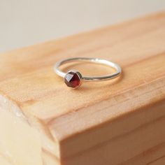 Garnet Ring in Silver, January Birthstone Jewellery, Facet Cut Garnet £32.00
