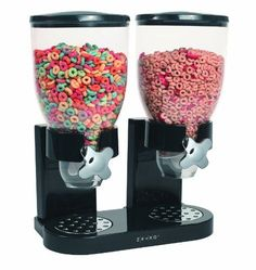 The patented Zevro cereal dispenser prevents cereal or other dry foods from going stale. Kids will find it fun turning the knob and watching the cereal fall perfectly into their bowl while moms can be assured that kids will not be spilling cereal all over the kitchen