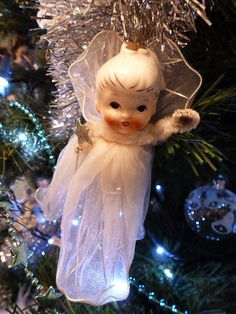 Our little christmas angel Christmas Tree Fairy, Angel Christmas Tree Topper, Old World Christmas Ornaments, Christmas Figurines, Christmas Past, Retro Christmas, Christmas Angels, Christmas Decorations, Vintage Angel Tree Topper