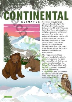Teaching Resource: A poster to display in the classroom when learning about continental (subarctic) climates.