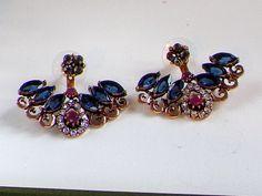 Earrings,Bohemian Ethnic Sapphire Ruby earrings,Ear wrap,ear cuff,ear hoop climbers,Ear Jacket,Women Jewellery,Antique Gold Boho earrings