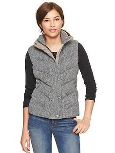 This is so freaking cute; looks warm and cozy, too: Herringbone puffer vest | Gap