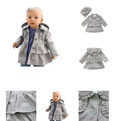 0601420483765 | #YiZYiF #Baby #Mädchen #Kinder #Jacke #Trenchcoat #Fruehling  #038; #Herbst #Mantel mit #Kapuzen #Outwear #Gr. #80 #92 #Grau #74-80 #(Herstellergröße:80)