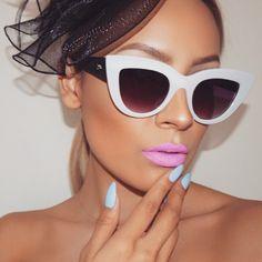 """Loving these #quay shades from @whitefoxboutique  Lips @anastasiabeverlyhills Bambi  Nail color #essie ""bikini so teeny"""""