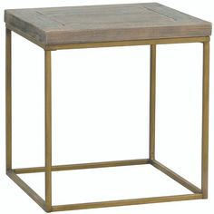 Small square industrial side table made with a rustic table top. Living room table comes with gold bronze effect steel frame. Reclaimed Wood Side Table, Industrial Side Table, Wooden Side Table, Rustic Table, Side Tables, Black Square Coffee Table, Furniture Assembly, Lamp Table, Marble Top