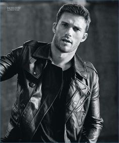 Actor Scott Eastwood wears a Ralph Lauren leather jacket with a John Varvatos tank.