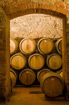 Wine Aging in Oak Barrels at Cellar in Chianti, Tuscany (Toscana), Italy