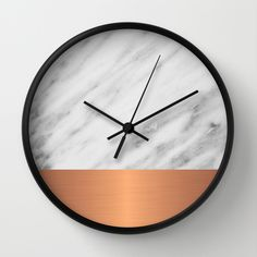 Carrara Italian Marble Holiday Rose Gold Edition Wall Clock