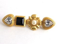 Carolee Goldtone Swarovski Crystal Brooch by ediesbest on Etsy, $12.95