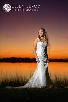 Bridal-Portrait-at-Sunset-Cedar-Point-NC