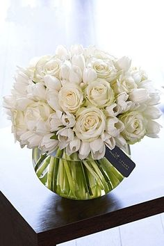 White Floral Arrangement  plus my wedding colors would be so perfect! ❤️