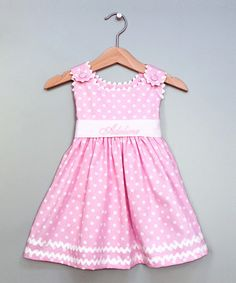 Monogrammed pink polka dot sash dress cotton pique fabric, lined bodice, high waist and covered button shoulder closures for an easy fit. The white grosgrain ribbon sash is attached perfect personalized dress for any occasion. Toddler Dress, Toddler Outfits, Kids Outfits, Infant Toddler, Toddler Girls, Fashion Kids, Toddler Fashion, Little Girl Dresses, Girls Dresses