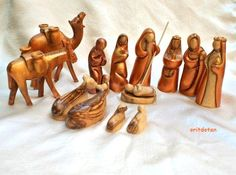 Olive wood nativity set-MADE TO ORDER- Christmas creche hand carved hand painted in Holy Land by oritdotandolls on Etsy