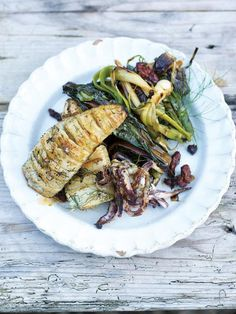 roasted concertina squid with grilled leeks & a warm chorizo dressing | Jamie Oliver | Food | Jamie Oliver (UK)