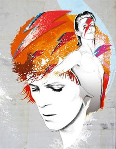 David Bowie Ziggy Stardust Fan Art Collage Fabric Block - Great for Quilting, Pillows & Wall Art - Buy 2, Get 1 FREE