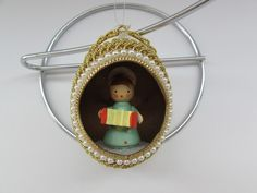 Egg Diorama Christmas Ornament with Angel Inside, Vintage Egg Diorama Christmas Ornament, Holiday Ornaments, Holiday Decor by OpenTwentyFourSeven, $12.95 USD