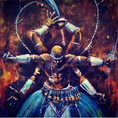 Ogun Yoruba Orishas, African Mythology, African Artwork, Haitian Art, Warrior Spirit, Black Love Art, Black Anime Characters, West Africa, Deities