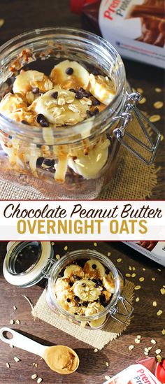 Wake up to a protein packed breakfast with our Overnight Chocolate Peanut Butter Protein Oats!