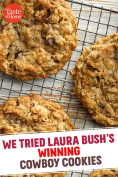 We Tried Laura Bush's Winning Cowboy Cookies - Yummy Recipes Köstliche Desserts, Delicious Desserts, Dessert Recipes, Yummy Food, Coconut Desserts, Low Carb Cookies, Yummy Cookies, Cake Cookies, Heath Bar Cookies