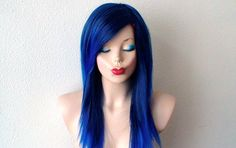Blue Ombre wig. Straigh hair long side bangs Heat resistant durable blue hair wig for daily use or Cosplay