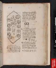 Magical table and symbols in the Magical Treatise of Solomon, a fifteenth-century manuscript from the Eastern Mediterranean written in Greek. (Harley 5596 f. 33) (British Library)