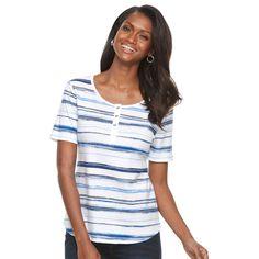 Women's Croft & Barrow® Henley Tee, Size: XL, Blue (Navy)