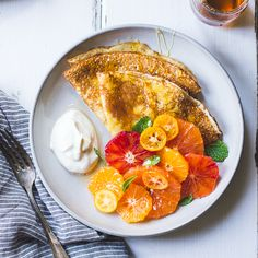 The Bojon Gourmet - Ricotta Crèpes with Whipped Ricotta, Citrus, Honey, and Mint {gluten-free}