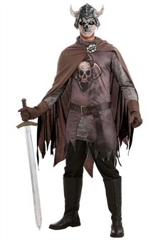 Adult Dread Knight Costume - FOREVER HALLOWEEN Faux Leather Belts, Faux Leather Fabric, Leather Gloves, Leather Material, Scary Halloween Costumes, Cool Costumes, Chainmail Armor, Toy Swords, Knight Costume