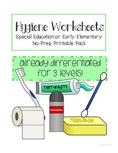 Hygiene Worksheets for Special Education or Early Elementary