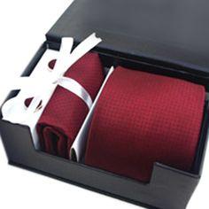 Mens Polka Dots Necktie Set, Tie & Handkerchief & Cufflinks, Gift Idea