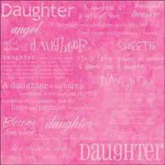 Daughter Words Scrapbook Paper
