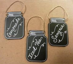 Sweet little chalkboard drink signs for a BBQ rehearsal dinner!  Calligraphy by Carrie