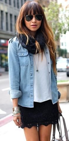 casually dressed up. lace skirt with denim shirt.
