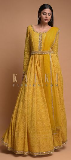 Sun-Yellow-Anarkali-Suit-With-Lucknowi-Embroidered-Floral-Jaal-And-Embellished-Belt-Online-Kalki-Fas - TheTellMeWhy Anarkali Dress, Pakistani Dresses, Indian Dresses, Lehenga, Anarkali Suits, Desi Wedding Dresses, Party Wear Dresses, Ethnic Outfits, Indian Outfits