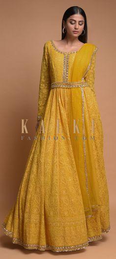 Sun-Yellow-Anarkali-Suit-With-Lucknowi-Embroidered-Floral-Jaal-And-Embellished-Belt-Online-Kalki-Fas - TheTellMeWhy Anarkali Dress, Anarkali Suits, Lehenga, Ethnic Outfits, Indian Outfits, Wedding Salwar Kameez, Salwar Suits Party Wear, Embellished Belt, Anarkali