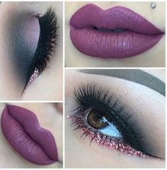 Super Cute Purple Lips and Eye Makeup 2016