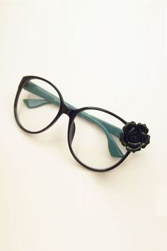 Green Frames Flower Detailing Glasses