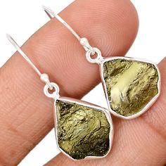Genuine Czech Moldavite 925 Sterling Silver Earrings Jewelry MLDE623
