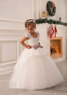 5c79d938ff Ivory Lace Beaded 2016 Ball Gown Flower Girl Dresses Vintage Kids Little  Girl Wedding Dresses Cheap Pageant Dresses Mother Of The Bride Pageant  Dresses From ...