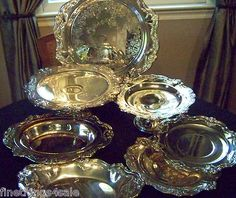 GORHAM SILVER CHANTILLY LARGE TRAY COLLECTION WITH CHAFING DISH SERVING TRAY SET
