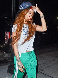 Star Tracks: Wednesday, July 8, 2015 | ALL-NIGHTER | Dressed in emerald-green track pants and a Brooklyn ball cap, Rihanna heads to a New York City recording studio with producer Timbaland (not pictured) on Tuesday.