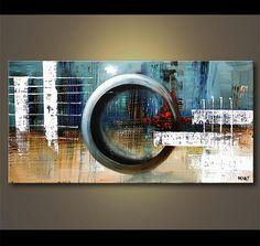 """Blue pintura abstracta, pintura acrílica contemporánea con textura sobre lienzo moderno paleta cuchillo por Osnat - confeccionar - 60 """"x 24"""""""