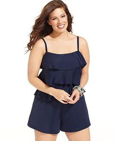Fit 4 U Plus Size Swimsuit, Spaghetti-Strap Tiered Ruffle Swim Romper - Plus Size Swimwear - Plus Sizes - Macy's