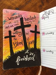 By His blood, it is finished.  Easter doodle in my bullet journal