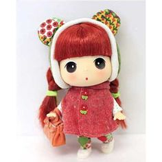 Korea Brand Ddung Cute Lovely Kawaii Baby Doll 7in Red Cape Red Hair Girl #Ddung #DollswithClothingAccessories